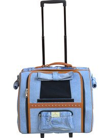 DOGGY DOLLY Džínová taška s kolečky, 30x44x40 cm
