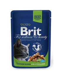 BRIT Premium Cat Pouches Chicken Slices for Sterilised 100 g