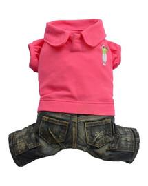 DOGGY DOLLY Obleček jeans & polo, růžový, M 28-30 cm/41-43 cm