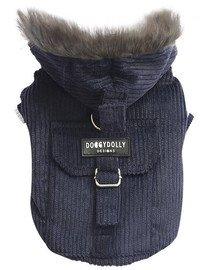 DOGGY DOLLY Bunda s kapucí, černo-modrá M 28-30 /41-43