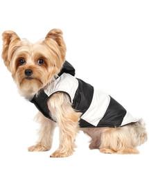 Bunda Doggy Dolly s kožešinovou kapucí, černá / bílá, M 28-30 cm / 41-43 cm