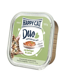 HAPPY CAT Duo set, Kuřecí a Jehněčí 100 g