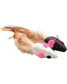 ZOLUX Hračka pro kočku - 2 myši s pěřím 5 cm