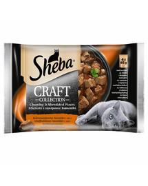 SHEBA  Craft Collection 4x85g Šťavnaté kapsičky - Hovězí, jehněčí, krůtí, kuřecí