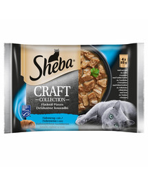 SHEBA Craft Collection 4x85g Rybí pochoutka - kapsičky s lososem, tuňákem a treskou