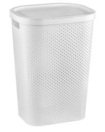 CURVER INFINITY DOTS 59L - bílý koš na špinavé prádlo