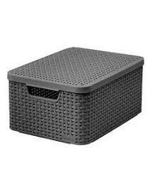 CURVER Úložný box RATTAN Style2 s víkem M - šedý