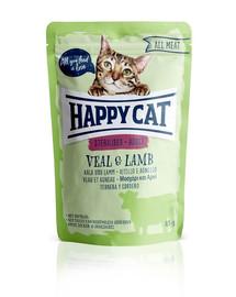 HAPPY CAT Kapsička ALL MEAT Adult Sterilised Kalb & Lamm 85 g