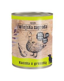 WIEJSKA ZAGRODA Kachna s hruškou 800g bezobilná konzerva pro psy