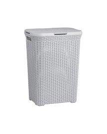 CURVER STYLE RATTAN 60 l světle šedý koš na špinavé prádlo