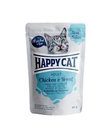 HAPPY CAT Kapsička MEAT IN SAUCE Adult Huhn & Forelle 85g