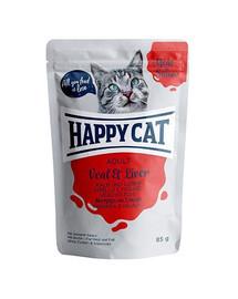 HAPPY CAT kapsička MEAT IN SAUCE Adult Kalb & Leber 85 g