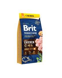 BRIT Premium by Nature Adult M 15kg + 3 kg ZDARMA