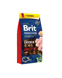 BRIT Premium by Nature Adult L 15kg + 3 kg ZDARMA