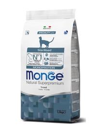 MONGE Monoprotein Cat Sterilised Pstruh 400g granule pro kastrované kočky