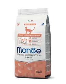 MONGE Cat Adult Losos 1.5kg granule pro dospělé kočky