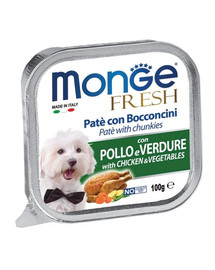 MONGE Dog Fresh paštika a kousky s kuřetem a zeleninou 100g