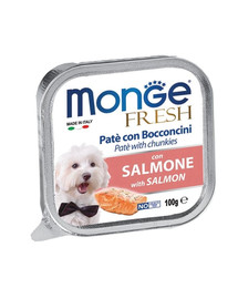 MONGE Dog Fresh paštika a kousky s lososem 100g