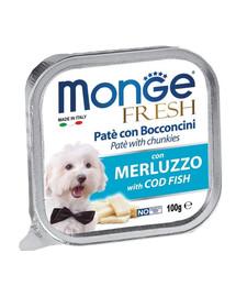 MONGE Dog Fresh paštika & kousky tresky 100g