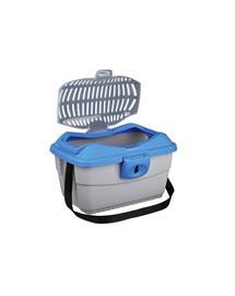 TRIXIE Transportní box mini-capri 40 x 22 x 30 cm. nebesky modrý/stříbrný