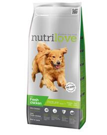 NUTRILOVE Dog Senior Fresh Chicken 3kg granule pro starší psy