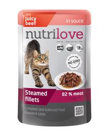 NUTRILOVE Cat Hovězí filetky v omáčce 85 g