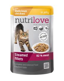 NUTRILOVE Cat filetky s kuřecím v želé 85g
