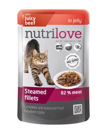 NUTRILOVE Cat Dušené filetky hovězí v želé 85 g