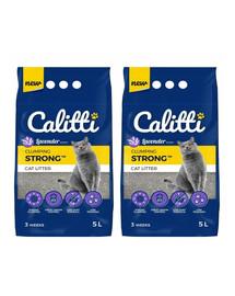CALITTI Strong bentonitové stelivo pro kočky Levandule 5 l + 5 l ZDARMA