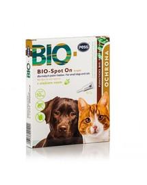 PESS BIO Spot-on kapky proti klíšťatům a blechám pro malé psy a kočky 4x1 g s neemovým olejem