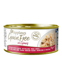 APPLAWS Cat Tin Grain Free Kachna v omáčce 70 g x 12 (10+2 ZDARMA)