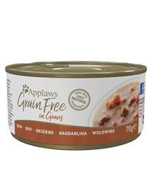 APPLAWS Cat Tin Grain Free Hovězí v omáčce 70 g x 12 (10+2 ZDARMA)