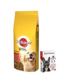PEDIGREE Adult Hovězí a drůbež 15kg + Dr PetCare MAX Biocide Collar Obojek proti klíšťatům pro střední psy 60 cm