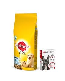 PEDIGREE Junior Kuřecí a rýže 15kg + Dr PetCare MAX Biocide Collar Obojek proti klíšťatům pro střední psy 60 cm ZDARMA