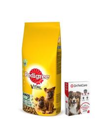 PEDIGREE Junior Large Kuřecí a rýže 15kg + Dr PetCare MAX Biocide Collar Obojek proti klíšťatům pro velké psy 75 cm ZDARMA