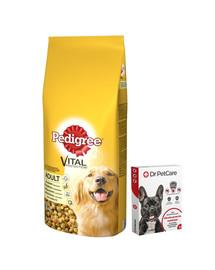 PEDIGREE Adult Drůbeží a zelenina 15kg + Dr PetCare MAX Biocide Collar Obojek proti klíšťatům pro střední psy 60 cm ZDARMA
