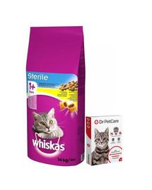 WHISKAS Sterile 14kg + Dr PetCare MAX Biocide Collar Obojek proti klíšťatům pro kočky 43cm ZDARMA