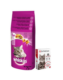 WHISKAS Adult Kuřecí 14kg + Dr PetCare MAX Biocide Collar Obojek proti klíšťatům pro kočky 43cm ZDARMA
