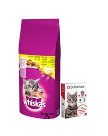 WHISKAS Junior 14kg + Dr PetCare MAX Biocide Collar Obojek proti klíšťatům pro kočky 43cm ZDARMA
