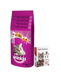 WHISKAS Adult Hovězí a zelenina 14kg + Dr PetCare MAX Biocide Collar Obojek proti klíšťatům pro kočky 43cm ZDARMA