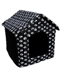 PETSBED Pelech pro psy - bouda  44 x 38 cm černý s tlapkami
