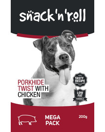 SNACK & ROLL Porkhide Twist with Chicken 3x200 g 2+1 ZDARMA
