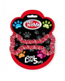 PET NOVA DOG LIFE STYLE Psí lano, kost 20 cm, červená, příchuť máta
