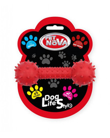 PET NOVA DOG LIFE STYLE Činka se zvonkem 14cm, červená, hovězí příchuť