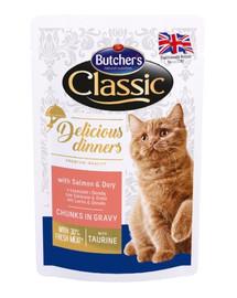 BUTCHER'S Classic Delicious Dinners Kapsička s lososem & Doradou pro kočky 100g