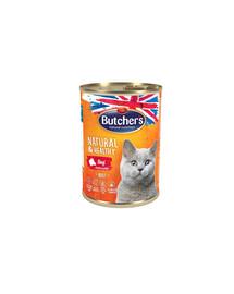 BUTCHER'S Natural&Healthy Cat kousky hovězího v želé 400g