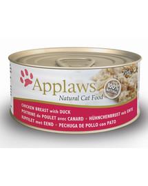 APPLAWS Cat konzerva kuřecí prsa & kachna 70 g