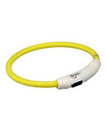 TRIXIE Svítící kroužek na krk USB, L–XL: 65 cm/O 7 mm,  žlutý