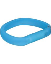 TRIXIE USB svítící obojek PLOCHÝ L–XL: 70 cm/30 mm, nebesky modrý