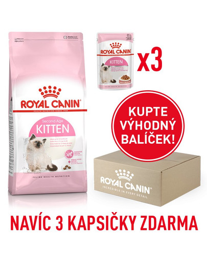 ROYAL CANIN Kitten 400g box + 3 kapsičkyb 85g zdarma